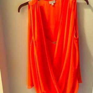 Cremiex Orange Sheer Sleeveless Blouse